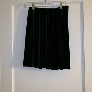 Deep green velour skirt